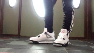 ccac3808 ... italy air jordan 4 white cement 2016 on feet with pants c49b7 bb3ad