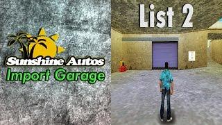 Grand Theft Auto Vice City - Sunshine Autos Import Garage (List 2)