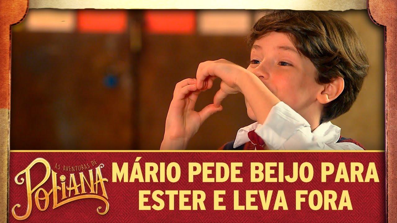 Mário pede beijo para Ester e leva fora | As Aventuras de Poliana