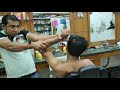 Energetic head and body massage by Indian barber   Powerful neck cracking   ASMR