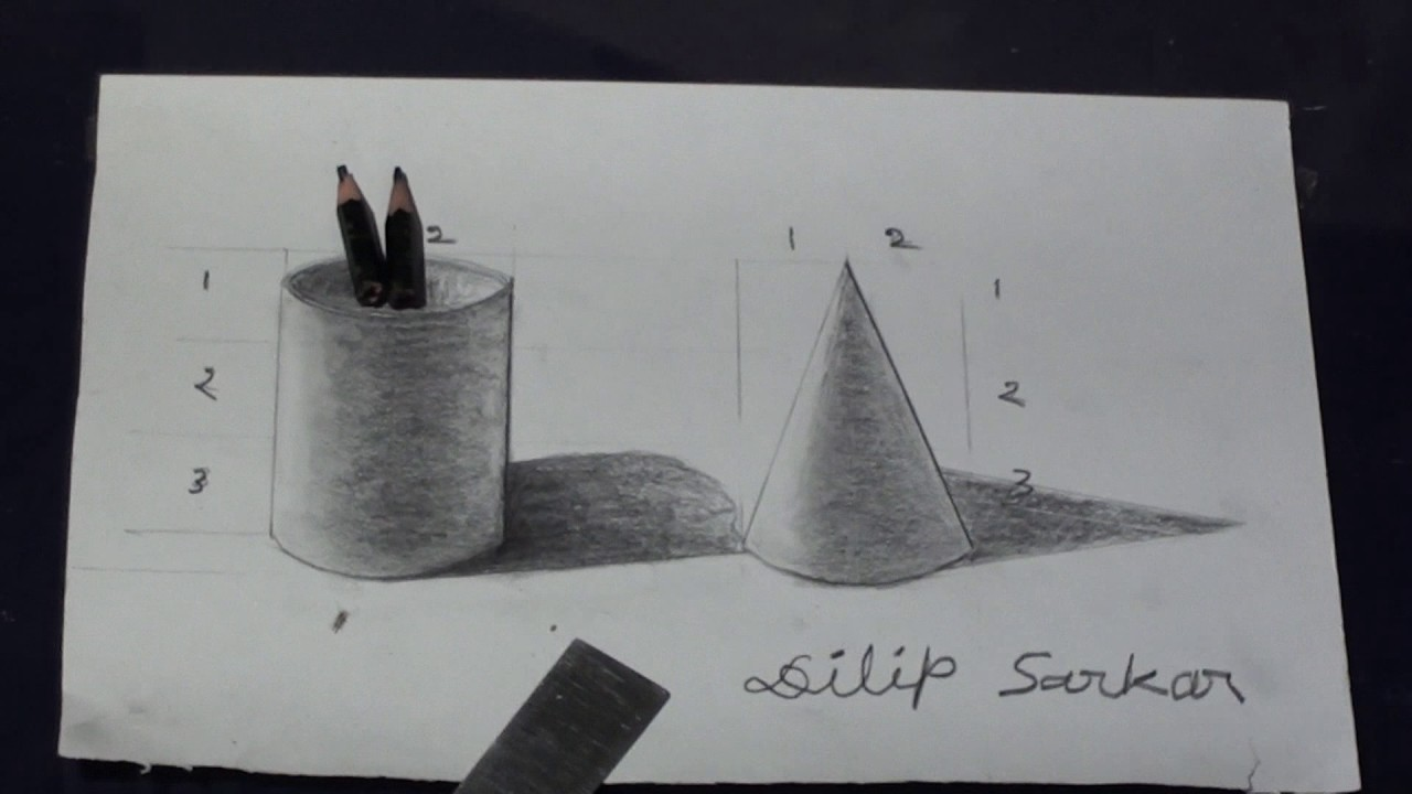 How to draw - 3D Cylinder And Cone step by step - Pencil ...