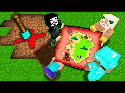 Minecraft Battle: NOOB Vs PRO Vs HACKER Vs GOD: SECRET TREASURE MAP Challenge In Minecraft Animation