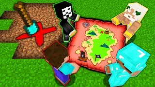 Minecraft Battle: NOOB vs PRO vs HACKER vs GOD: SECRET TREASURE MAP Challenge in Minecraft Animation