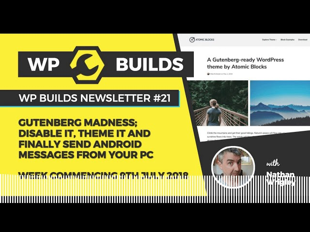 WP Builds Newsletter #21 – Gutenberg; disable it, theme it and send android messages from your PC