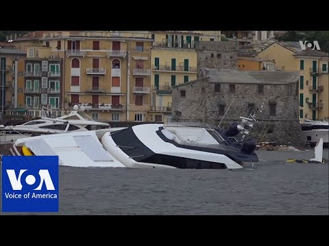 Damaged yachts at Rapallo port, Italy after stormy night