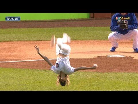 SF@CHC: Olympic gymnast flips, throws a strike