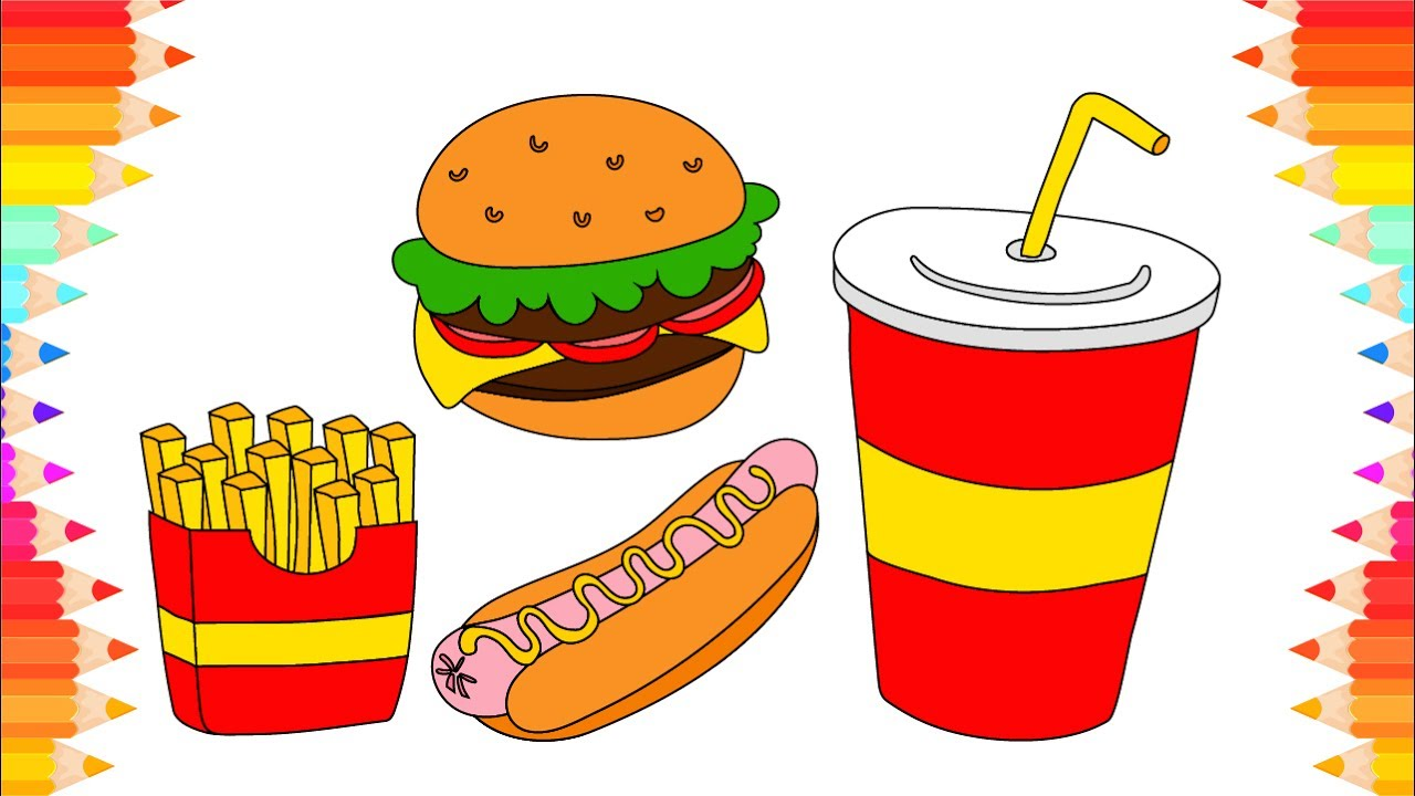 How to Draw Kit of Fast Food🍟. DIY Coloring Pages for ...