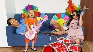 Van and Nam Prevent Papa from Sleeping with Musical Instruments and Toys, BaBiBum