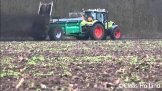 Compost strooien met claas Arion 650svan wolfshagen in dalfsen