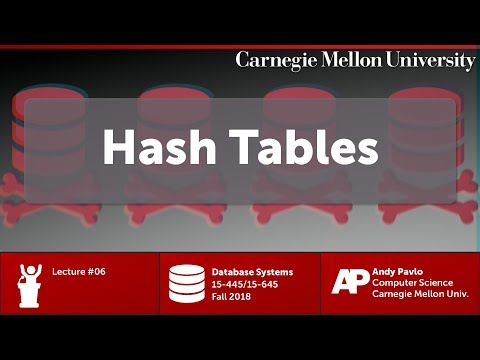CMU Database Systems - 06 Hash Tables (Fall 2018)