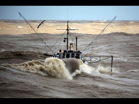 Incredible video -  fishing boats in rough sea