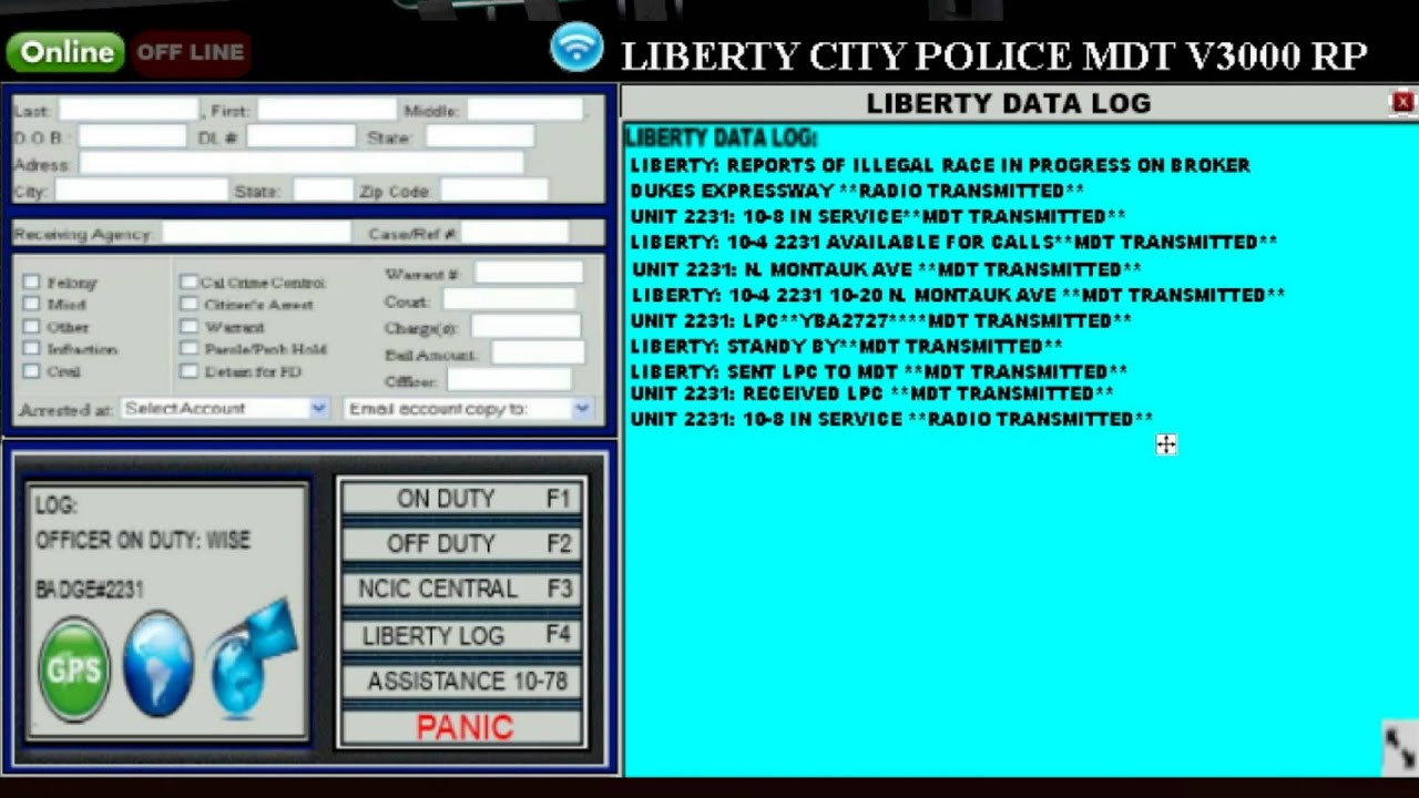 Lcpd role play multiplayer gta4 new mdt youtube for Free online cad system
