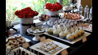 Red black white party themed decorating ideas