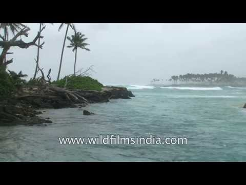 Waves hit the wild shores of Car Nicobar and its estuaries