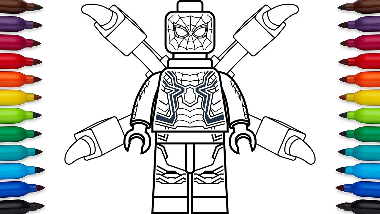 how to draw lego spiderman from marvel's avengers
