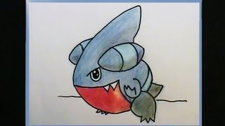 Draw GIBLE Step by Step~CREEPY Little CREATURE~ Pokemon No. 443 Tutorial