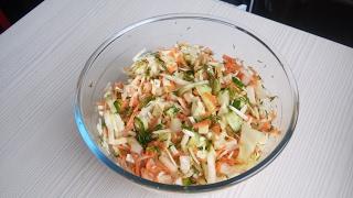Легкий салат из свежих овощей. Салат из капусты.  Простой и вкусный салат.
