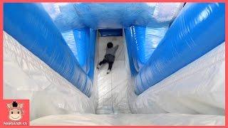 꾸러기 유니 미니 초대형 풍선 미끄럼틀 타러 놀이공원 가다 ♡ 키즈카페 놀이동산 놀이공원 이천 플레이즈 스파이더맨 놀이 | 말이야와아이들 MariAndKids