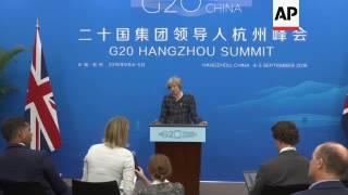 UK PM speaks at G20 summit in Hangzhou