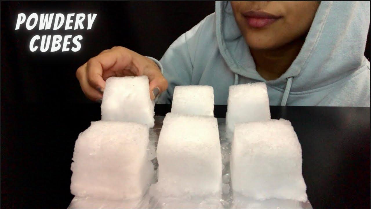ASMR ICE EATING| HUGE POWDERY CUBES| BIG BITES| NO TALKING| 얼음 먹기| 氷を食べる | makan es|