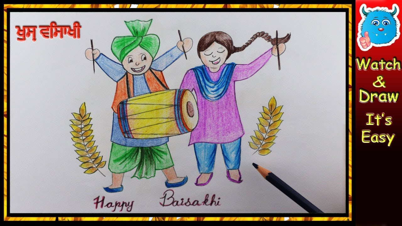Baisakhi Festival Drawing For Kids Youtube