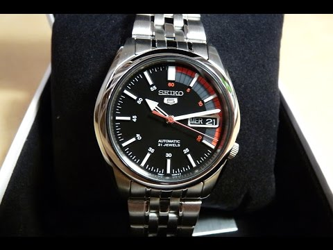 386dfb60b Seiko 5 Men Automatic Black Face Speed Dial Look SNK375K1 - YouTube
