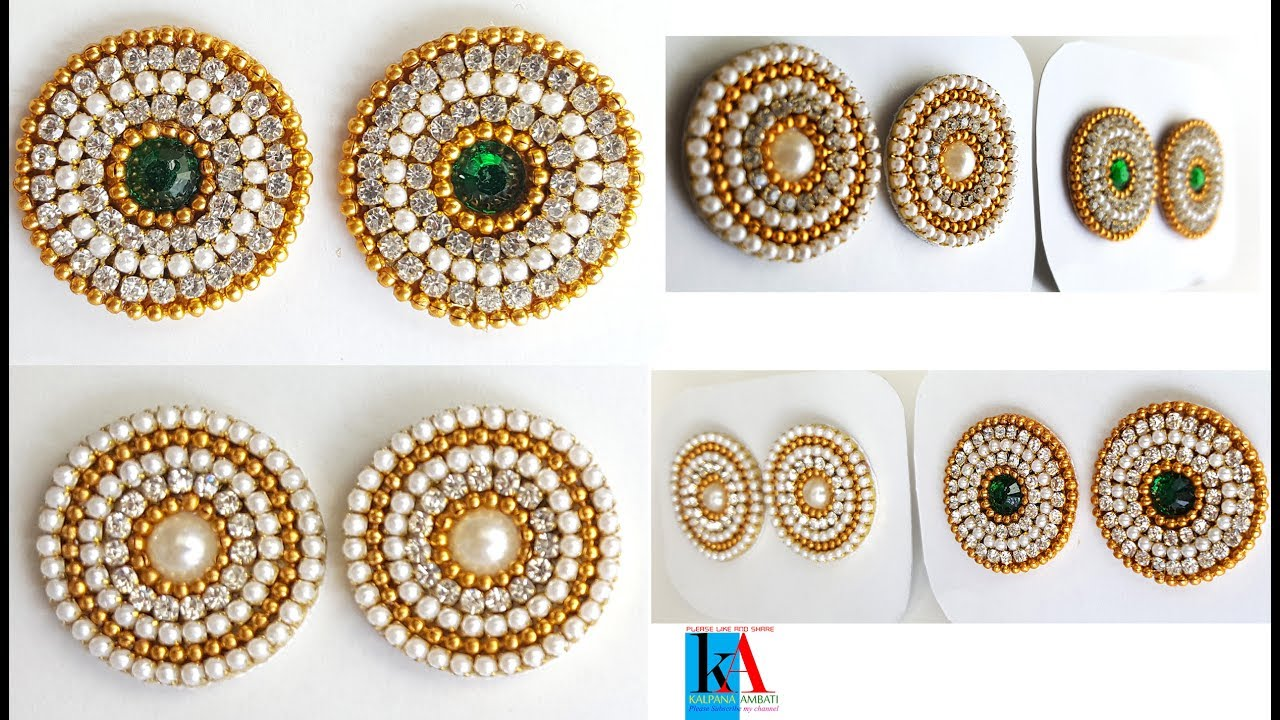 74bc5e5a7 How to make new model earring studs / patches with canvas cloth and kundans