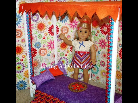 How To Make American Girl Doll Julie's Canopy Bed - DIY