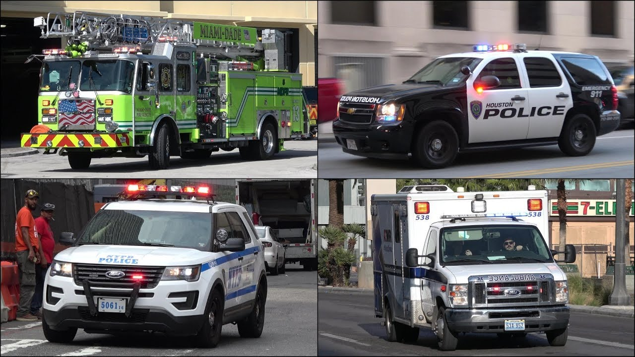 New Ladder + Fire Trucks, Police Cars and Ambulances responding