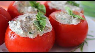 Фаршированные помидоры быстрая закуска на стол.