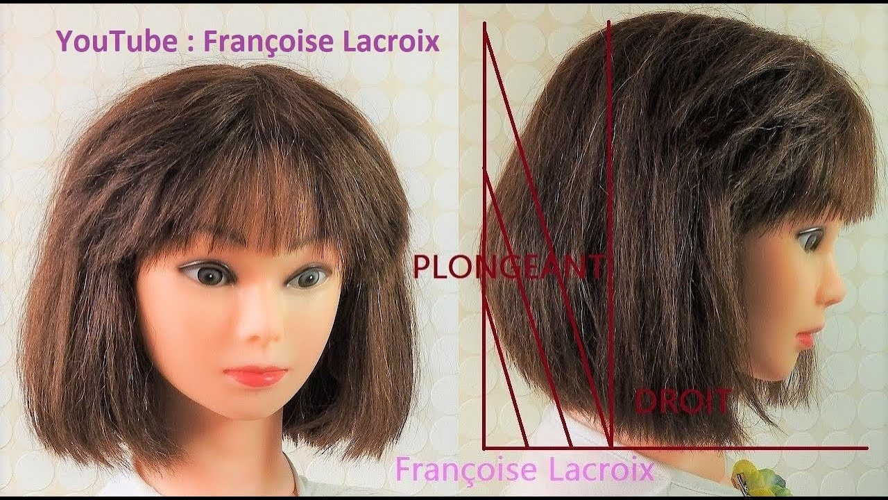 Tuto Coupe Carré plongeant nuque & Frange | Cut Bob haircut & Bangs | Corte corto Bob ...
