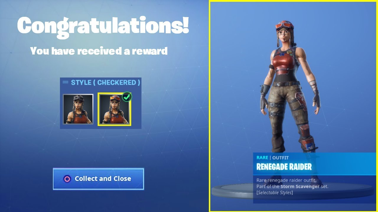 The New Renegade Raider Skin In Fortnite Checkered Style Youtube