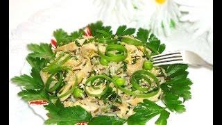 Куриный салат с рисом и зелёным горошком рецепт