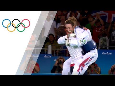Jade Jones celebrates defending her Taekwondo crown