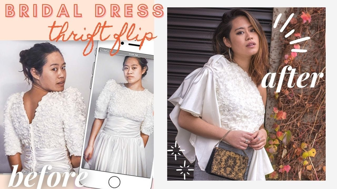 THRIFT FLIP- REFASHION BRIDAL GOWN INTO TWO NEW TOPS 5