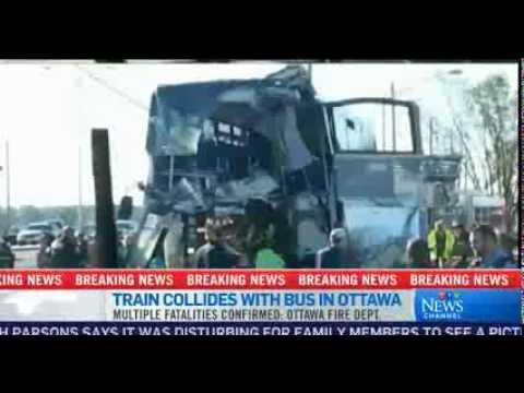 Train Collides With Double Decker 5 Dead In Ottawa Canada Bus Active Scene