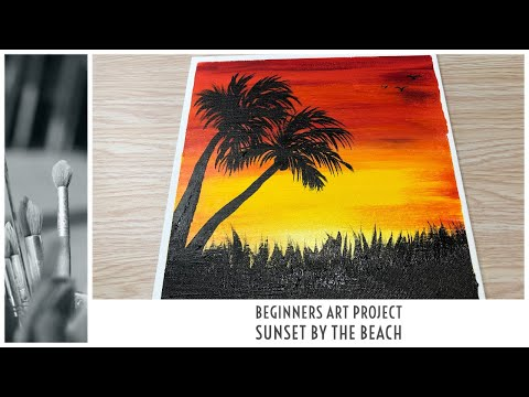 HOW TO PAINT EASY SUNSET LANDSCAPE | SUNSET ACRYLIC PAINTING TUTORIAL| BEGINNERS PAINTING| BLENDING