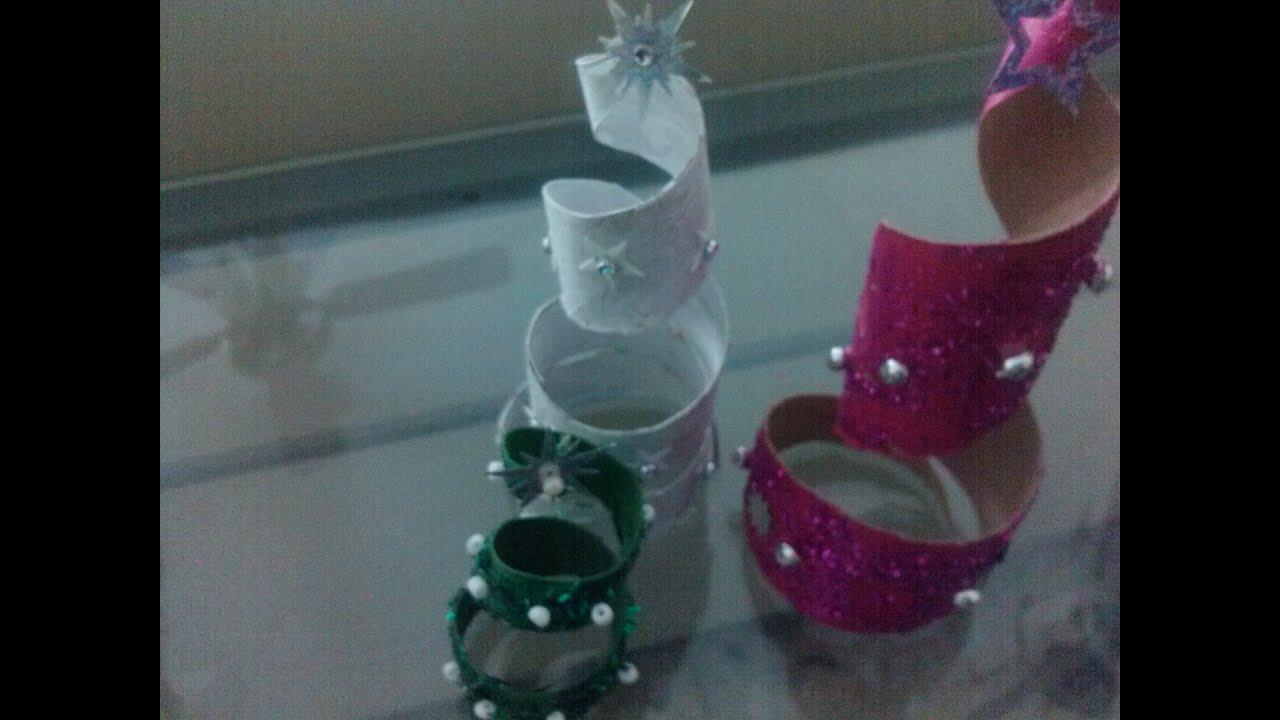 Diy adorno para pinito de navidad christmas ornament tree for How to make a tree out of toilet paper rolls