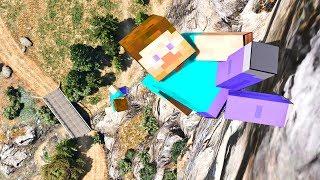 GTA 5 Crazy Steve CLIFF Jumps-Falls-Ragdolls [Euphoria physics | Funny Moments]