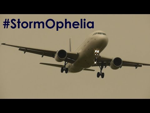 Ex-Hurricane Ophelia | Strong 40kt Gust Winds at Birmingham Airport | Windy Landings & Take offs!