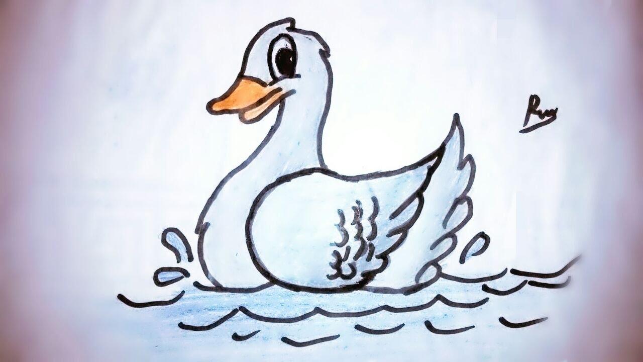Çok kolay ördek çizimi
