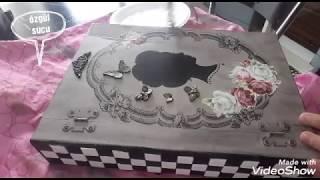 Kitap Kutu Boyama - Vintage Esintisi  Eskitme Stencil Transfer