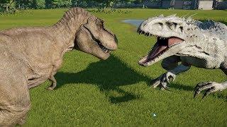 Indominus Rex(Modified) VS T-Rex, Spinosaurus, Giganotosaurus, Allosaurus and Carnotaurus - JWE
