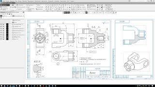 Построение чертёжа детали Вилка на основе 3D модели в Компас 3D