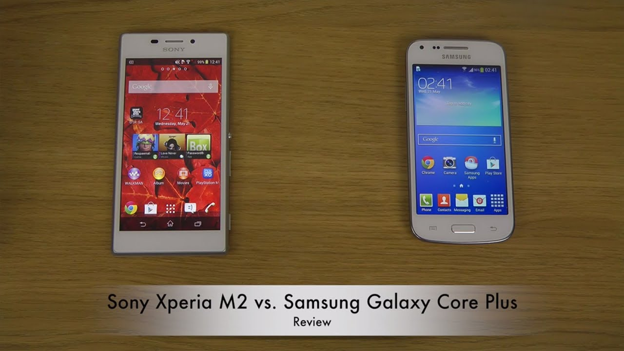 sony xperia m2 vs samsung galaxy core plus youtube. Black Bedroom Furniture Sets. Home Design Ideas