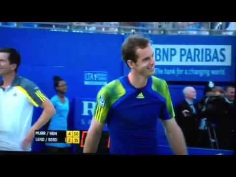 Andy Murray Hits Ivan Lendl with Ball at Queens 2013 Charity Event