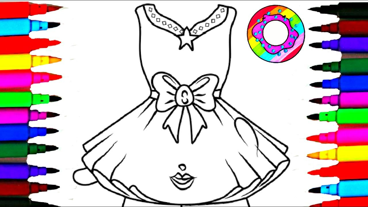 Coloring Pages Pretty Dress for Girls Coloring Drawing Pages Videos ...