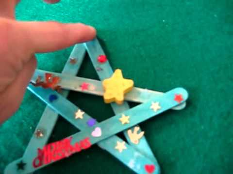 Christmas. Arts And Crafts Activity: Colored Popsicle Sticks And Stickers  Star Decorations.   YouTube