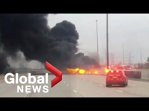 2 people killed in fiery tanker truck crash on Highway 407 just outside  Toronto