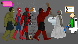 Granny vs Red Hulk, IT Pennywise, Deadpool, Spiderman, Hulk Drawing Cartoons 2 Animation HD